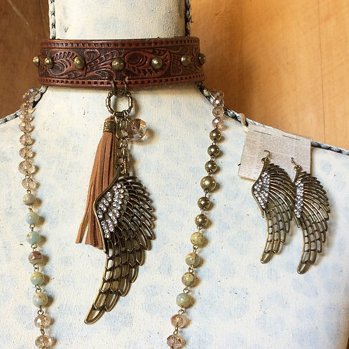 Cowgirl Choker Necklace Set~ A Wing and A Prayer