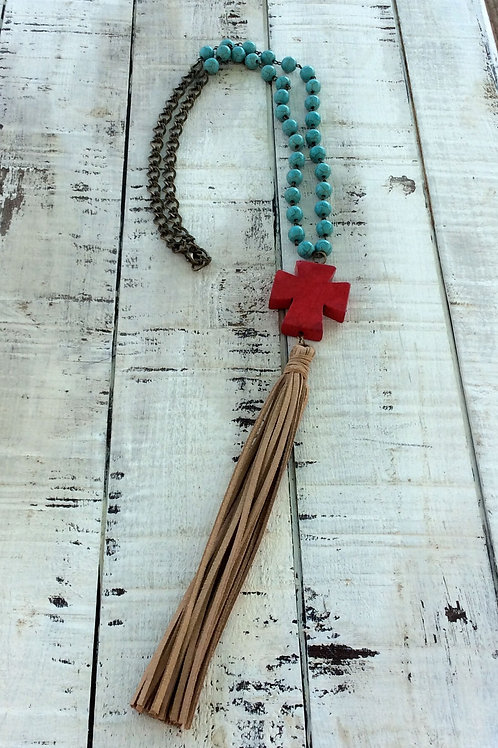 Cowgirl Layer Necklace~ Red Cross Rosary
