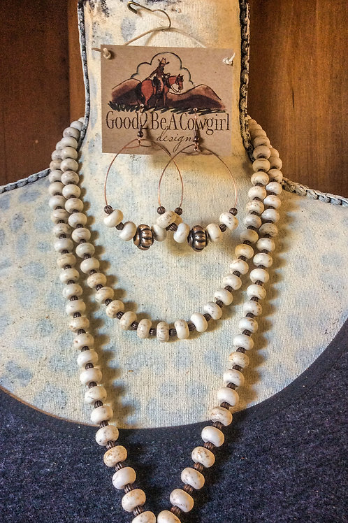 Cowgirl Statement Necklace Set with white turquoise & copper~ Arroyo