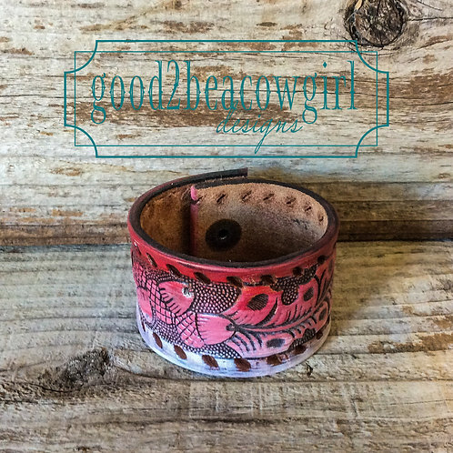 Boho Cowgirl Leather Cuff~ Red Ombre