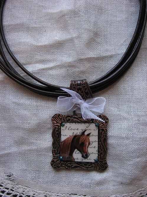Custom portrait necklace set~ Leather with copper pendant