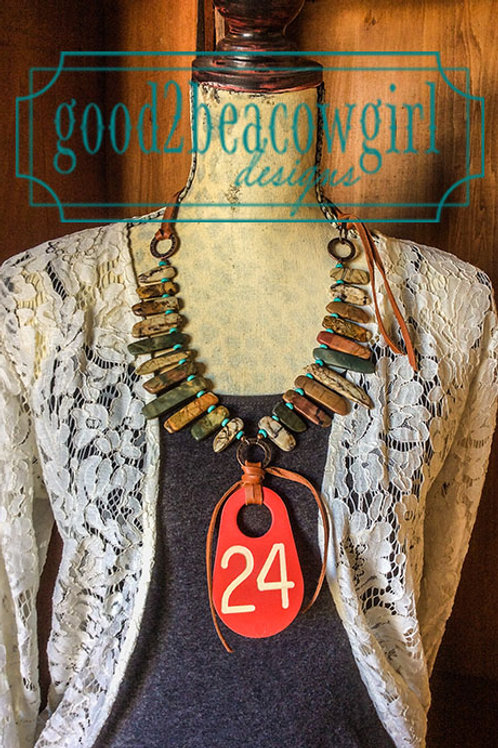 Cowgirl Statement Necklace with upcycled vintage cattle tag~ Number 24