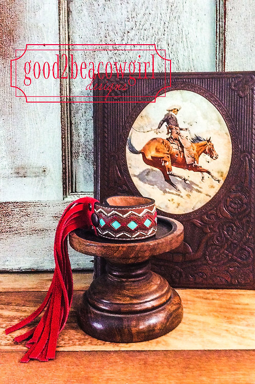 Cowgirl Leather Bracelet Cuff with fringe~ Vegas