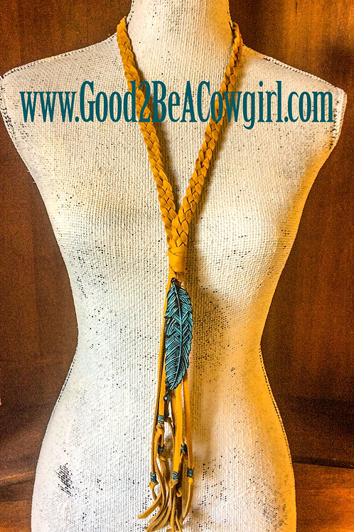 Boho Western Yellow Braided Leather Layer Necklace~ Albuquerque