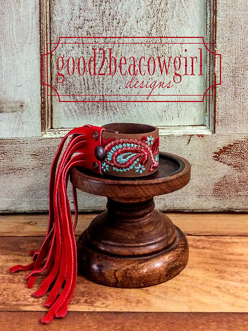 Cowgirl Upcycled Leather Bracelet Cuff~ Sangria