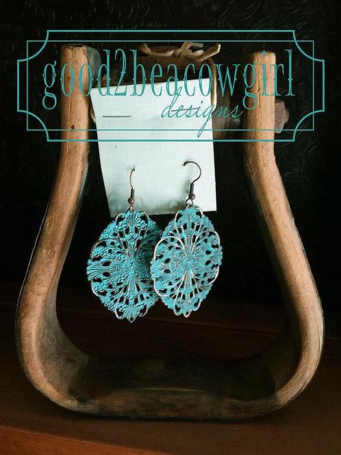 Copper Patina Filigree Cowgirl Earrings~ Boho