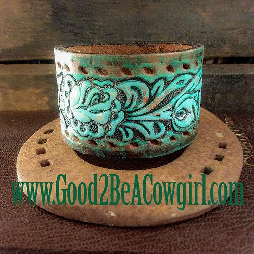 Boho Western Cowgirl Tooled Leather Cuff~Saguro