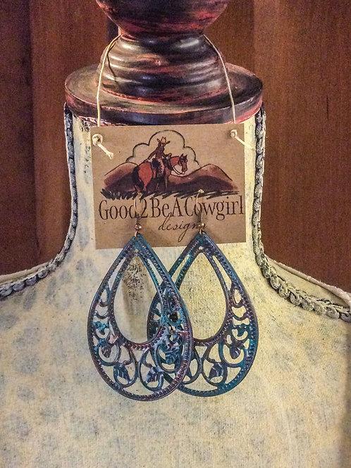 Copper Patina Filigree Cowgirl Hoop Earrings~ Monsoon