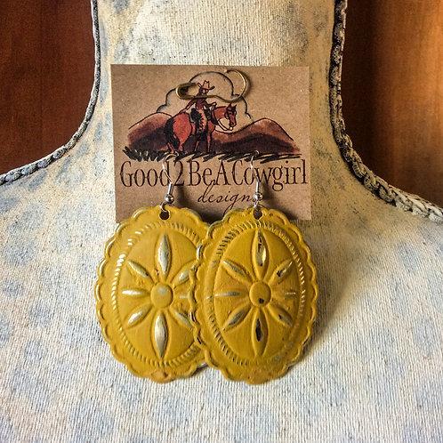 Cowgirl Concho Earrings~ Ochre