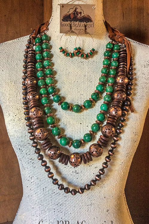 Boho Western Cowgirl Statement Necklace Set with green turquoise and navajo pear