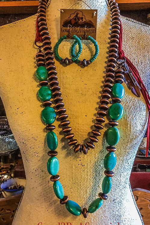 Boho Western Statement Necklace Set with turquoise and navajo pearls~ Frisco