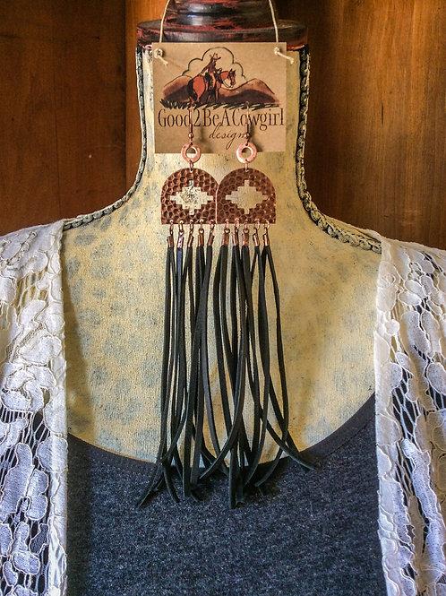 Cowgirl Copper Aztec Fringe Earrings~ Pueblo