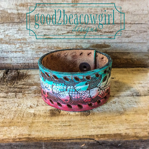Boho Cowgirl Leather Cuff~ Painted Desert