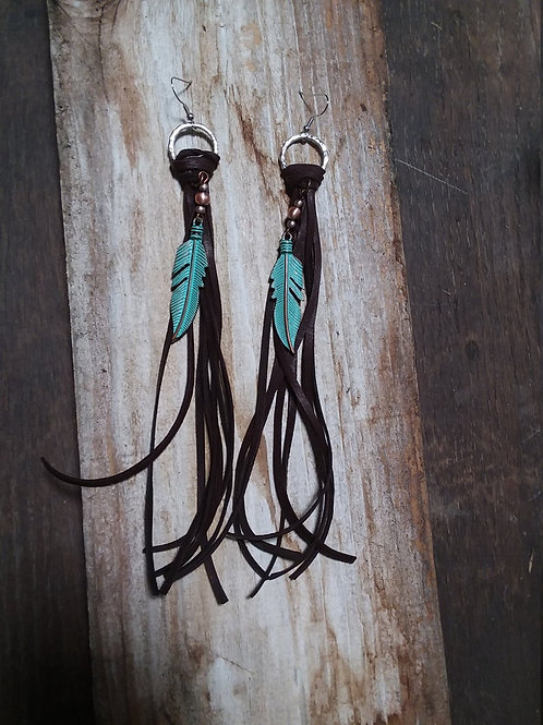 Leather Fringe & Feathers Cowgirl Earrings~