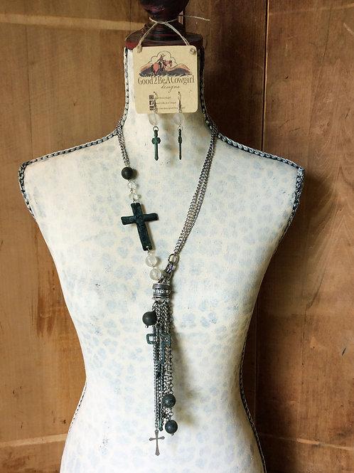 Cowgirl Statement Necklace Set~ Verdigris Crosses