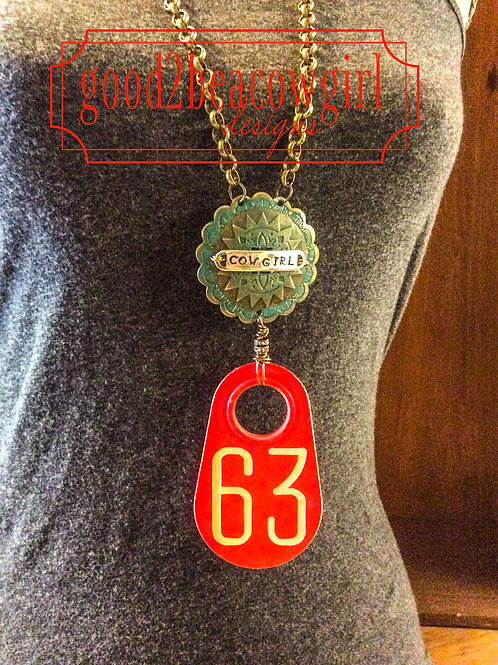 Cowgirl Statement Necklace with vintage cattle tag~ Number 63