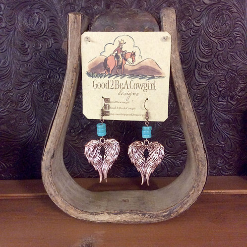 Boho Cowgirl Earrings~ Angel Wings