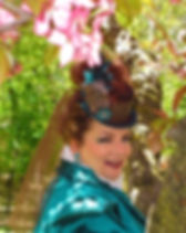 mary beth beautiful teal hat.JPG