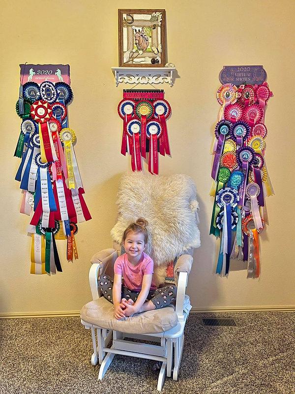Savannah Grace with her virtual winnings