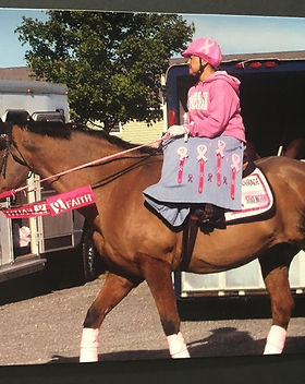 Shelly Liggett riding in Breast Cancer g