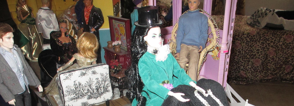Diorama of Fashion Royalty doll jumping aside