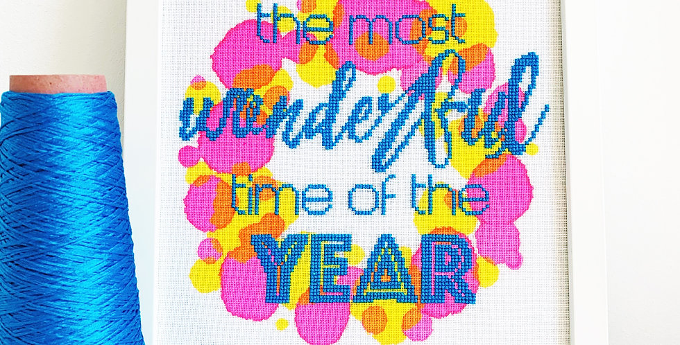 The Most Wonderful Time of the Year - Modern Christmas Cross Stitch Kit