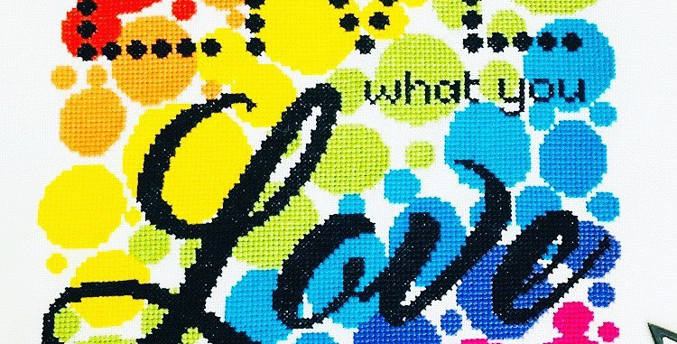 PRE ORDER: Live What You Love - Modern Cross Stitch Kit - Fully Stitched