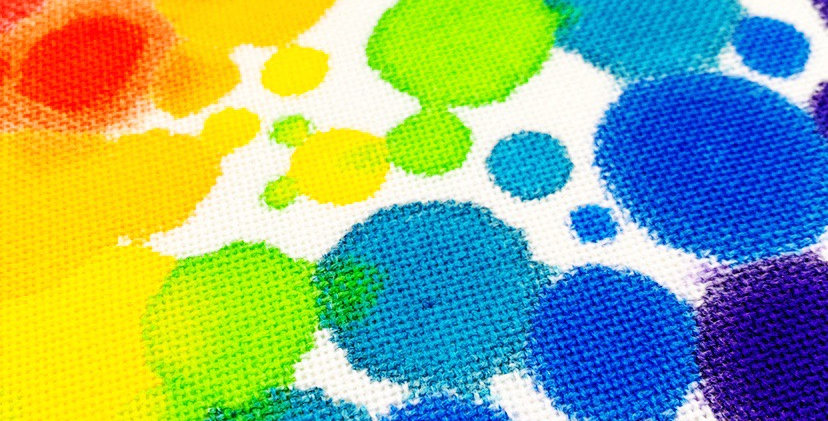 Hand painted rainbow fabric - aida or evenweave