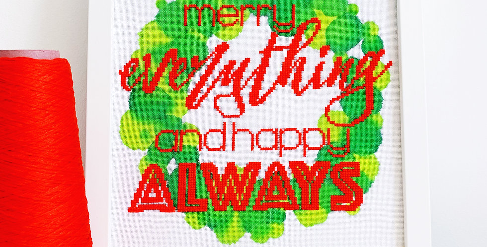 Merry Everything and Happy Always - Modern Christmas Cross Stitch Kit