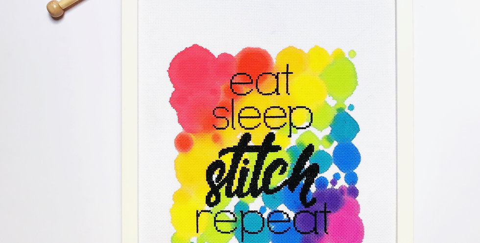 Eat, Sleep, Stitch, Repeat - Modern Cross Stitch Kit