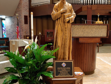 Blessed Father Michael J. McGivney statue dedicated in Memory of Sir Knight Matthew J. Cerio