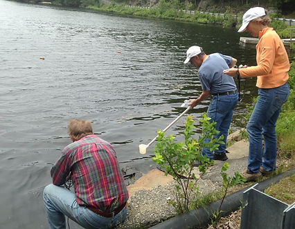 Volunteers testing water quality on West Harbor Pond Boothbay Harbor Maine