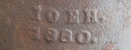 Date stamp on West Harbor Pond 1880 dam siphon Boothbay Harbor Maine