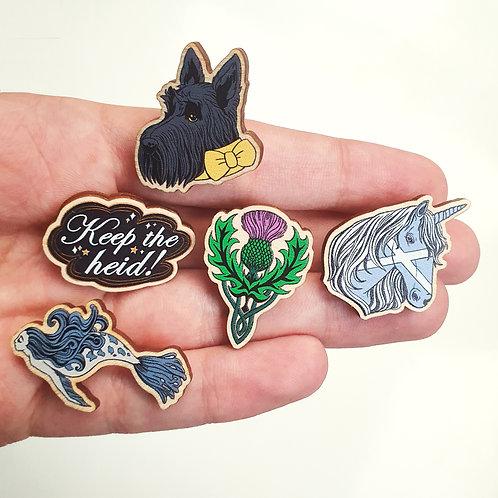 Wooden Pins, Scottish Designs