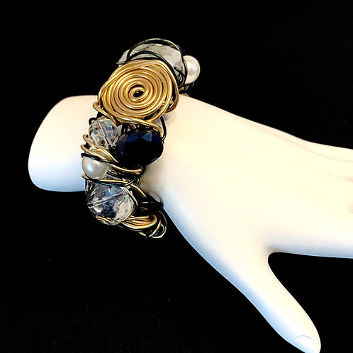 Black  / Gold Crystal and Pearl cuff bracelet