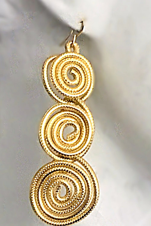 Triple Dangling Spiral earrings