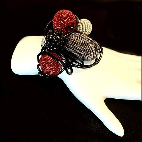 Aluminum Red Mesh Cuff Bracelet