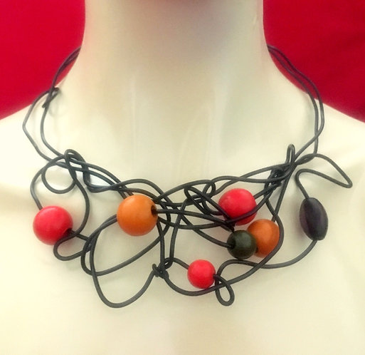 Abstract Wood Bead Choker Necklace
