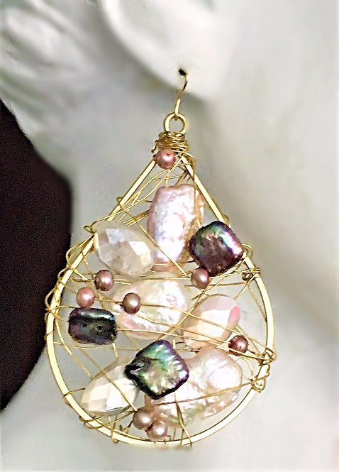 Dramatic Wire Wrapped Fresh Water Pearl Earrings