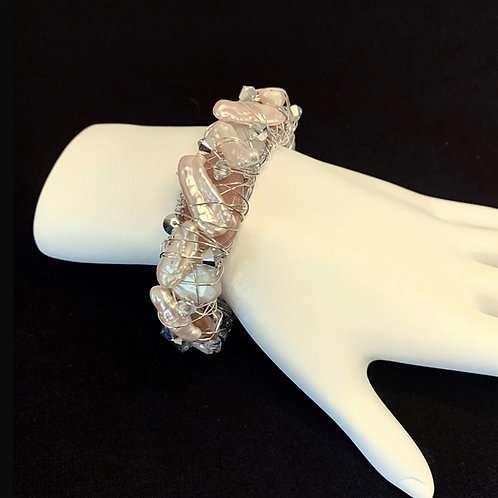 Delicate Pearl and Crystal Cuff Bracelet