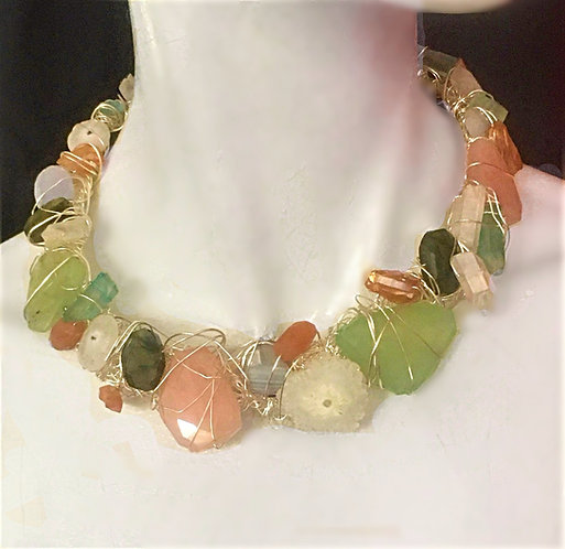 Pastel Multi Stone Choker Necklace