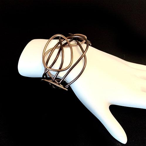 Brown Abstract Aluminum Cuff Bracelet