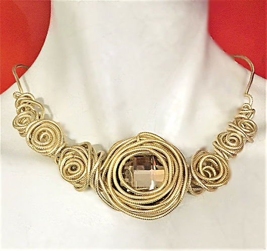 Bronze Coil and Crystal Choker Necklace.