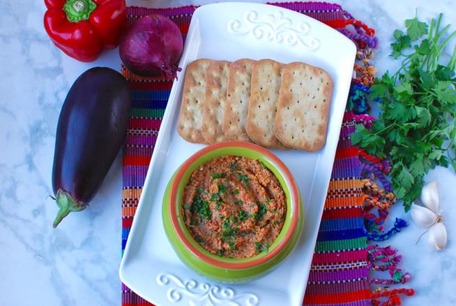 Vegan smokey roasted vegetable and tahini dip