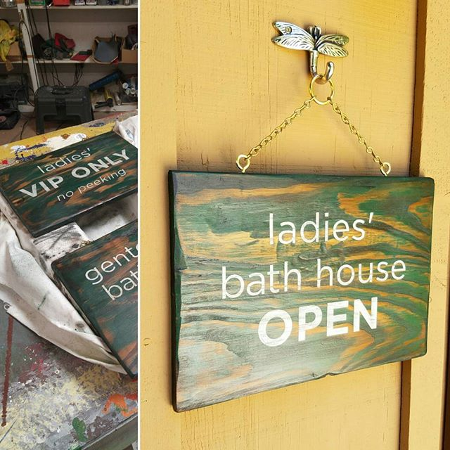 Hand crafted bath house sign