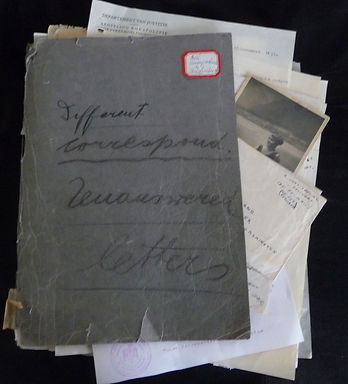 Grey folder with documents related to Nazi Germany and visas