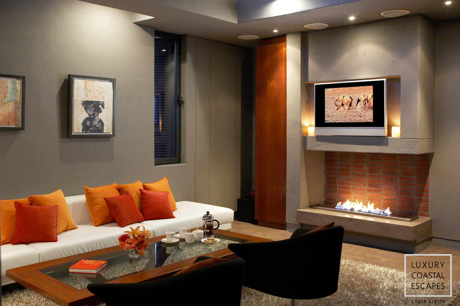 Lounge Area and Fireplace