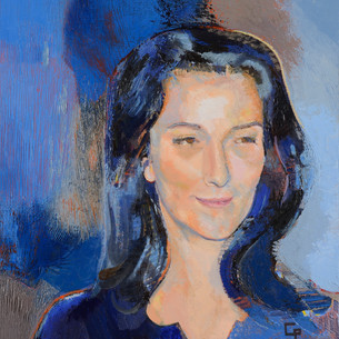Jeune femme en bleu