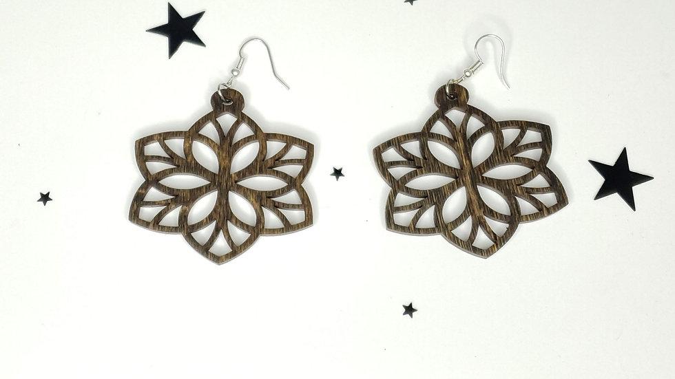 Star leaf mandala style wood earrings