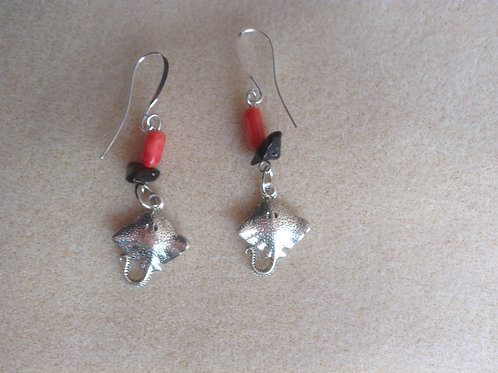 Coral and manta ray earrings